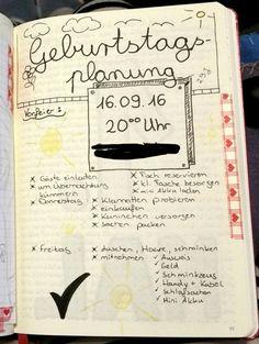 Geburtstagsplanung für bullet journal oder tagebuch