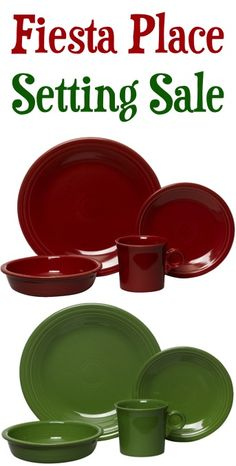 Fiesta Dinnerware Place Setting Sale: $23.99...I want Scarlet and Turquoise and Lemongrass and White!