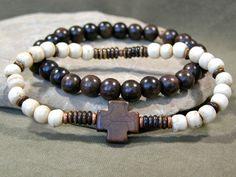 Mens Bracelet  Cross Bracelet  Beaded Bracelet by StoneWearDesigns