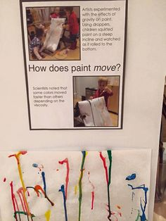 Exploring with paint and motion / gravity. This open ended craft is a fun way to watch children learn cause and effect while making cool designs. Reggio Inspired Classrooms, Reggio Classroom, Preschool Classroom, Learning Stories, Play Based Learning, Early Learning, Preschool Activities, Preschool Plans, Nursery Activities
