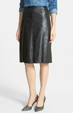 Halogen® 'Lamb Moss' Pleat Leather Skirt (Regular & Petite) available at #Nordstrom