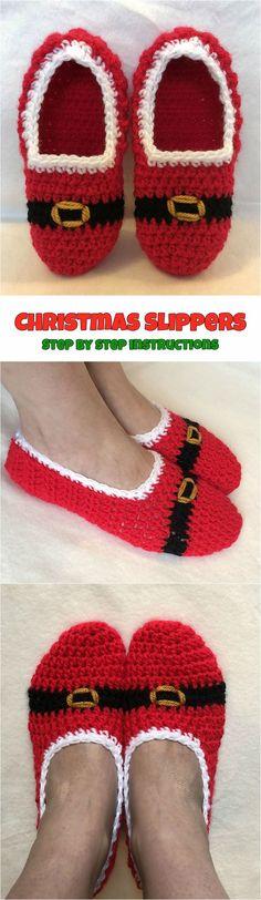 Crochet Christmas Slippers