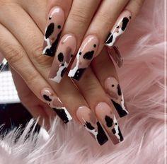 Classy Acrylic Nails, Blue Acrylic Nails, Acrylic Nail Designs, Cow Nails, Aycrlic Nails, Swag Nails, Stylish Nails, Trendy Nails, Nail Tattoo