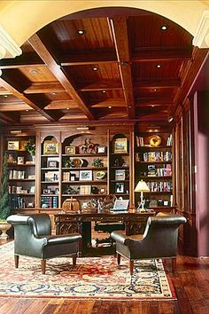 Great Traditional Home Office... except those bizarre chairs.