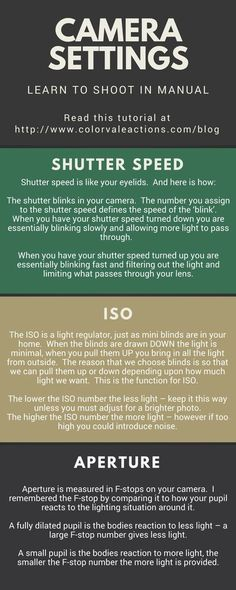 Learn How To Shoot In Manual Mode - ISO, Aperture & Shutter Speed Explained Shutter Speed, ISO, Aperture . To be comfortable shooting manual you will need to know what your necessary adjustments are. Though these settings are all numeric, there isnt som