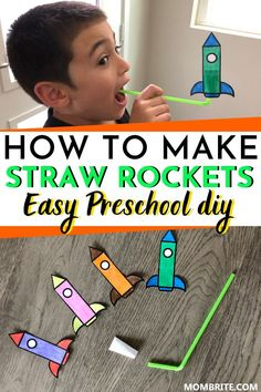 Looking for a fun indoor kids activity you can do at home with your toddler and preschooler? Learn how to easily make these super fun straw rockets and have fun blasting off with your kids using my complimentary free printable! Activities For Toddlers Kids Activities At Home, Preschool Learning Activities, Fun Indoor Activities, Educational Activities, Fun Kids Games Indoors, Clock Learning For Kids, Indoor Kids Games, Kids Printable Activities, Outdoor Activities For Preschoolers