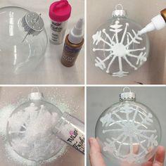 Snowflake glitter ornament DIY