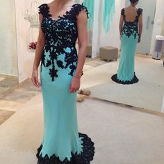 Mermaid Chiffon Prom Dresses with Appliques