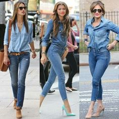 Plus size outfits Jean Shirt Outfits, Jean Shirts, Denim Shirt, Denim On Denim, Chambray Shirt Outfits, Denim Fashion, Look Fashion, Fashion Outfits, Womens Fashion