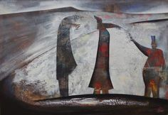hand-to-kiss.jpg - Peinture,  117x82 cm ©2015 par clive manuel -                                        Expressionnisme abstrait, Toile