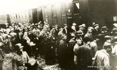 Prisoners from the first transport to KL Auschwitz at the train station in Tarnów (among them were some Jews) (Auschwitz-Birkenau State Museum Archives)