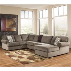 Jessa Place - Dune Casual Sectional Sofa with Right Chaise by Signature Design by Ashley at Del Sol Furniture