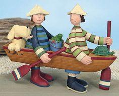 Children in Row Boat With Dog Figurine – Everyday Folk Art Figurines & Collectibles – Williraye Studio - $18.75