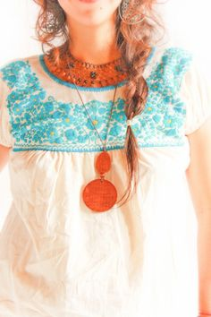 Exclusive mini Mexican blouse from Aida Coronado collection I ~~    Handmade fine embroidery work, natural fabric, cotton crochet, a beautiful