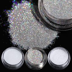 2g Holographic Glitter Powder Dazzling Nail Sugar Glitter Pigment Dust Manicure Nail Art Tips Decorations 8 Colors