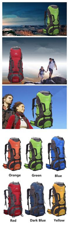 80L Tactical Camping Hiking Traveling Mountaineering Backpack Specification: Material: Nylon Size: 34*25*80cm (L x W x H) (Approx) Color: Yellow, Blue Red, Dark Blue, Orange Application Environment: M
