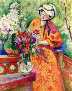 Henri Manguin - Flower Girl, 1906. #arte Maurice Utrillo, Maurice De Vlaminck, Andre Derain, Modern Painting, Modern Artists, French Artists, Saint Tropez, Van Gogh, Flower Art