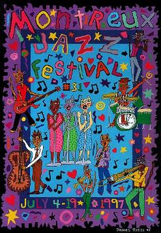 "James Rizzi ""Montreux Jazz Festival""signed and numbered rare ed of 10 Poster Jazz, Blue Poster, Festival Posters, Concert Posters, Music Posters, Event Posters, Keith Haring, Arte Jazz, James Rizzi"