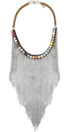 Shourouk Dallas silver-plated Swarovski crystal bib necklace