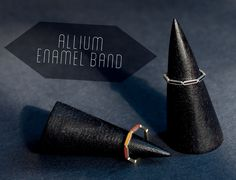 Our Allium Enamel bands. Available in a variety of metals with black enamel. Custom enamel colors available as well. http://bario-neal.com/jewelry/bands/allium-enamel-band
