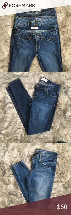 """Skinny Gap A & F Hollister Jeans Bundle Skinny jeans bundle! Excellent used condition & originally $30+ each. Seriously, maybe wore the Gap ones 2x. My weird figure isn't friends w/jeans. 😞 My loss is your gain! They're all in a medium to dark wash, the Gap jeans have a bit of intentional distressing on the back right pocket. A&F are 4R. The Gap are 2R. The Hollister are 3R (please note pic with stitching break on front right pocket, easy fix!) I'm 5'3"""" & 130lbs and these all fit similarly…"""