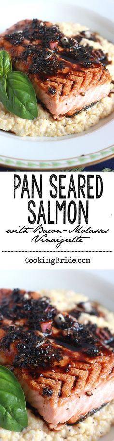Pan seared salmon is topped with a tangy vinaigrette of aged balsamic vinegar, basil leaves, and molasses.