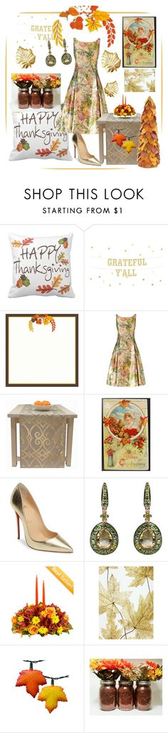 """""""Happy Thanksgiving 🦃"""" by klm62 ❤ liked on Polyvore featuring Adrianna Papell, Christian Louboutin, Annoushka and Home Decorators Collection"""