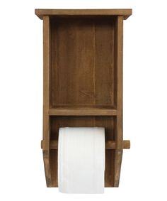 Brown Wall Shelf & Toilet Paper Holder