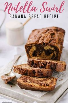 Nutella Swirl Banana Bread Recipe - This easy banana bread with nutella is so simple to make, you'll wonder why you never started swirling nutella into your bread in the first place. #nutellabananabread #nutellabananabreadrecipe #nutellabananabreadeasy Best Bread Recipe, Easy Bread Recipes, Banana Bread Recipes, Loaf Recipes, Nutella Recipes, Köstliche Desserts, Delicious Desserts, Dessert Recipes, Pastries Recipes