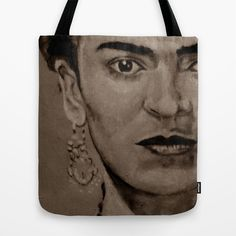 Frida Kahlo - sepia Tote Bag by ARTito - $22.00