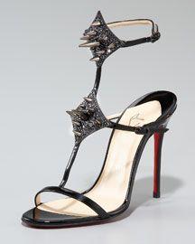 new twist on spike heels - Christian Louboutin Lady Max Spike T-Strap Sandal, Black