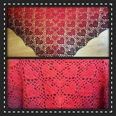 #haken, gratis patroon (Engels), Ravelry, omslagdoek met hartjes, haakpatroon, #crochet, free pattern, wrap, hearts