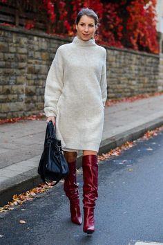 Cozy autumn outfit :: Zara knit dress & red boots Tolle Auswahl bei divafashion.ch. Schau doch vorbei