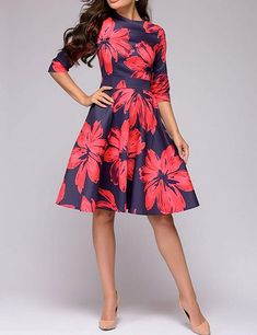 0a8028fbb4 Simple Flavor Women's Floral Vintage Midi Dress 3/4 Sleeve Elegant Evening  Dress at Amazon Women's Clothing store: