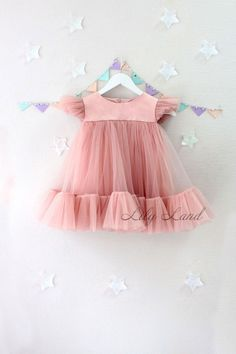 Summer Dress dusty rose tutu dress Toddler Baby Girls Princess Dress cap Sleeves Tulle Summer pink Dresses girl dress any size 1 2 3 4 5 6 7 8 9 10 powder dirty pink light weight dress CUSTOM ORDER: ANY DRESS YOU WANT Also, we can do any model of dress t Frocks For Girls, Dresses Kids Girl, Little Dresses, Flower Girl Dresses, Pink Dresses, Baby Dresses, Dress Girl, Baby Tulle Dress, Tulle Tutu