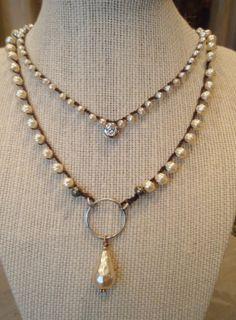 Pearl boho crochet necklace UpTown CharmCatcher by slashKnots