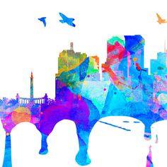 Richmond City horizonte, Acuarela, impresión, regalo, Paisaje urbano, Pintura Ciudad, Tatuajes de pared, disponible como Poster