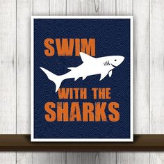 Swim with the Sharks Print in Navy Blue & by ProjectCottageInk