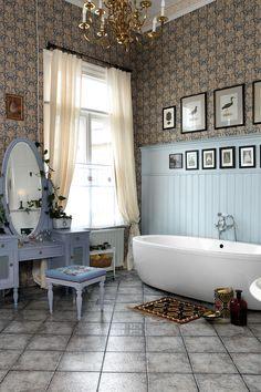 Kylpyhuoneen tunnelma muuttuu, kun peilipöytä vaihtuu Leilan sisustuskokeiluissa. Tällä kerralla se on laventelinsininen.