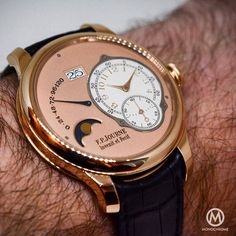 The 18k red gold edition on the wrist - new FP Journe Octa lune watch.