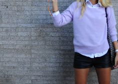 preppy - love the black metallic shorts and the sweater color