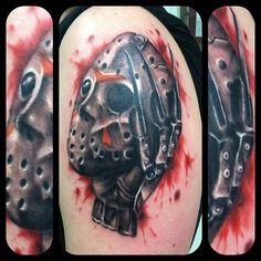 My awesome tattoo. Freddy Krueger, Jason Voorhees, Freddy vs Jason, Horror, Blood, Tattoo, Rebel Muse Tattoo, Lewisville Texas, Wes Brown