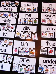 Prefixes and suffixes puzzles - perfect for prefix and suffix word building