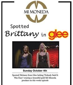 This week Mi Moneda is all over the tv. SPOTTED - Brittany from GLEE is wearing a gold Mi Moneda. pinned with Pinvolve Easy Wear, Glee, Gold Pendant, Brittany, Vip, Sayings, Gallery, How To Wear, Beautiful