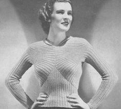 Vintage 1930s Knitted Modernist Sweater Vintage Pattern PDF 3703