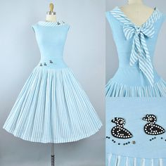 Vintage 1950s Dress Set / 50s Cotton STRIPE Sundress 2pc