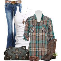 """Easy going"" by cindycook10 on Polyvore. Maybe a little too much 'bling' in the shirt, but love the colors..."