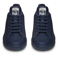 Raf Simons X Adidas Originals Stan Smith Navy Low Top Sneaker (€435) ❤ liked on Polyvore featuring shoes, sneakers, navy blue shoes, low tops, navy blue sneakers, navy shoes and navy sneakers