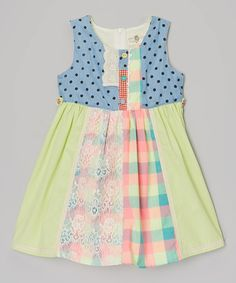 Blue & Green Polka Dot & Plaid Dress - Toddler & Girls by Little Anmy #zulily #zulilyfinds