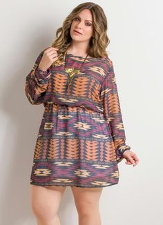 Plus Size Printed Mini Dress without Necklace - Plus Size Looks, Curvy Plus Size, Chubby Fashion, Curvy Girl Fashion, Plus Size Dresses, Plus Size Outfits, Plus Size Fashionista, Modelos Plus Size, Plus Size Beauty
